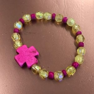 Girls yellow and pink faceted beaded bracelet